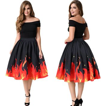 Red Fire Flaming Pattern Women Sports Tennis Skirts Saia Split A-Line Faldas Rock Female Beach Skirt Midi Party Skirt Flared