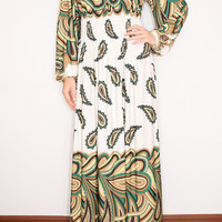 Paisley Maxi dress Long Sleeve Maxi dress in White / Green for Women