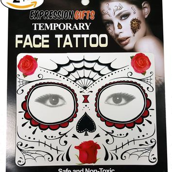 Temporary Face Tattoo Kits - 2-Pack of Assorted Styles For Halloween and Masquerade Parties