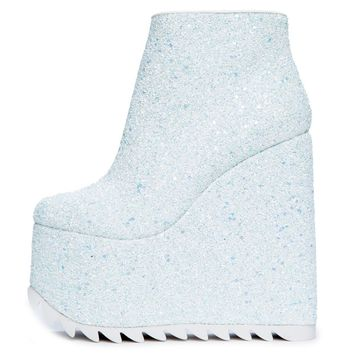 YRU Dimension Women's White Platform Wedged Booties