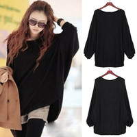 Women Plus Size Batwing Knit Sweater Loose Jumper Pullover Tops Knitwear Blouse F_F (Color: Black)