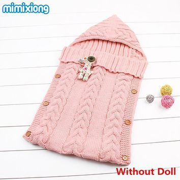 Winter Newborn Sleeping Bags Knitted Baby Stroller Swaddle Wrap Blankets Warm Infant Bebe Sleep Sack Envelopes 0-12Months