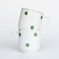 Vintage Pair of Polka Dot Ceramic Cups, 50's Germany / Coffee ,Tea Mug / Green