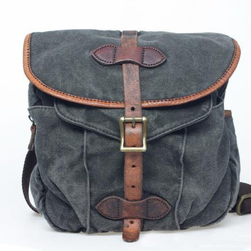 Gray Strap Leisure single shoulder bag Leather Canvas Messenger Bag Washed Canvas portable Bag