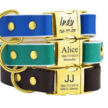 31 Colors Personalized Leather Dog Collar Gold Engraved Handmad Emerald Black Royal Bue