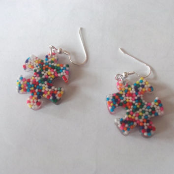 Autism Awareness Puzzle Piece Candy Sprinkles Resin Dangle French Hook Earrings, Autism Jewelry