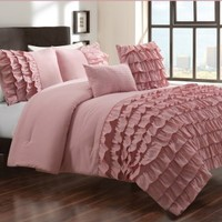5-pieces Dusty Pink Textured Ruffle Comforter Set with Jeweled Pillow, Queen / Full