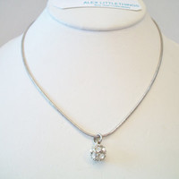Clear Sparkling Rhinestone Ball Necklace Silver Tone Costume Jewelry