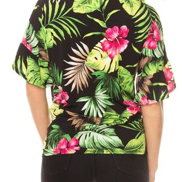 Tropical print button down front-tie top plus