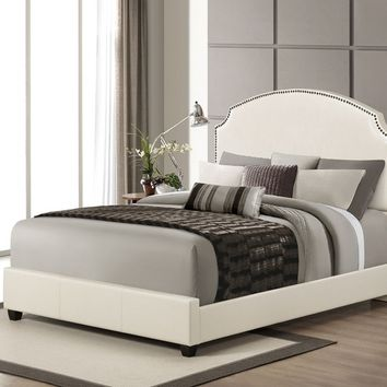 Acme 24710Q Kristina collection cream faux leather padded headboard footboard and rails queen size modern bed set