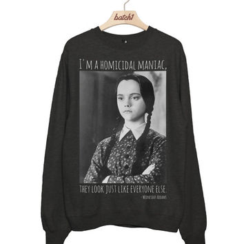Batch1 Wednesday Addams Homicidal Maniac Addams Family Halloween Fancy Dress Womens Sweatshirt