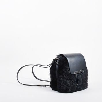 KUYOU Black Leather and Faux Fur Christian Louboutin  Lucky L  Bucket Backpack