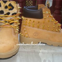 Mail In Your OWN BOOTS-  Custom Unisex Spiked Studded Timberland with Cheetah Print