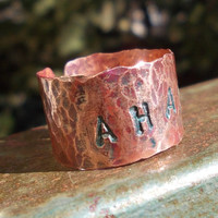 AHAVA Copper Handforged Patina Rustic Ring Love Stamped Hebrew Word Thumb Unisex METAL ART Primitive | Luulla