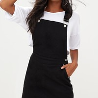 Black Front Pocket Denim Pinafore Dress