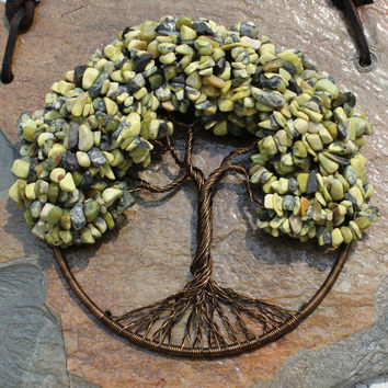 """Yellow Turquoise and Serpentine Stone 5"""" Tree of Life Wall Hanging, Home Décor, Meditation Aid"""