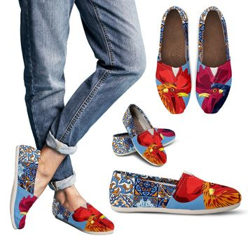 Ceramic Roosters Casual Shoes