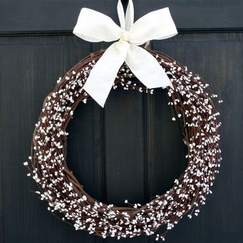 Country Primitive Wreath White Pip Berry Wreath Front Door Wreath