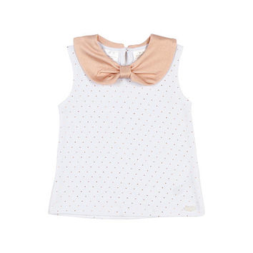 Kardashian Kids Girls' Ivory/Rose Foil Dot Tank Top with Peter Pan Collar