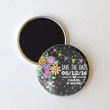 Chalkboard bouquet save the date magnets, wedding save the date, 2.25 inch magnets, pack of 25