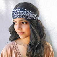 Black and White Snakeskin Print Headband Hippie Headband Bohemian Headwrap Printed Hair Accessorie