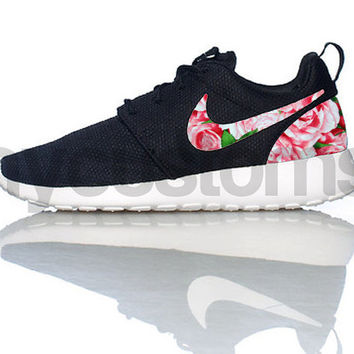 FREE SHIPPING -- Nike Roshe Run Black White Bushel of Roses Floral Print Custom Womens