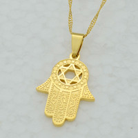 Hexagram in Hamsa Hand Necklace