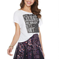 Floral Lace-Inset Skater Skirt in Purple-Multi - Purple Multi