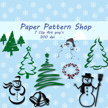 Winter Holidays Digital clip Art 9 Pack png - Paper Pattern Shop