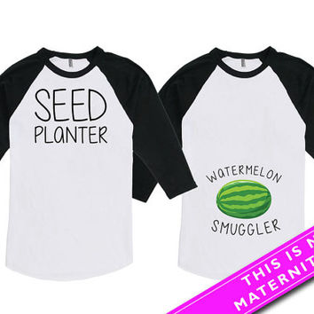 Matching Shirts For Couples Gifts Baby Announcement Pregnancy Announcement Expecting Parents American Apparel Unisex Raglan MAT-554-555