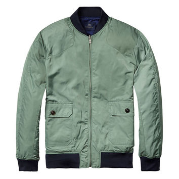 Army Green and Navy Reversible Bomber Jacket by Scotch & Soda