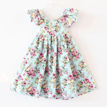 2017 Summer Baby Girls Dress Brand Beach Style Floral Print Party Backless Dresses Kids Flutter Sleeve Vintage Clothing Toddler
