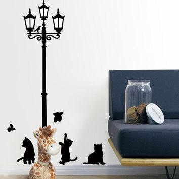Naughty Cats Under Lamp Wall Decal