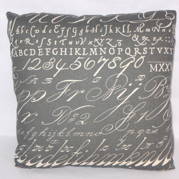 "Chalkboard Alphabet Script Throw Pillow Charcoal Grey Cotton 17"" Sq Writing Sampler Fonts Schoolhouse Cover and Insert Included Ready Ship"