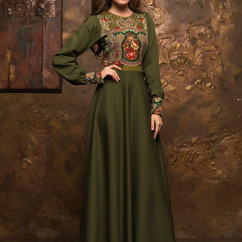 "Green ""Olive"" maxi dress, Spring Autumn long sleeve dress, long evening dress 2016, special occasion formal dress, fashion printed dress"