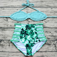 Womens Crochet Beach Swimsuit High Waist Bikini Set