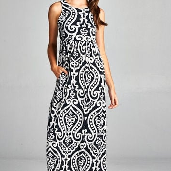 Garden Party Maxi Dress - Black and White Damask - Ships Tuesday, March 20th