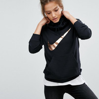"Women Fashion""Nike"" Metallic Print Logo Hooded Top Sweater Pullover Sweatshirt"