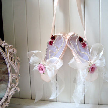 Pink Ballet Slippers With Flowers Lace And Rhinestones Baby Pin