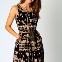 Ashlie Printed Sleeveless Belted Dress