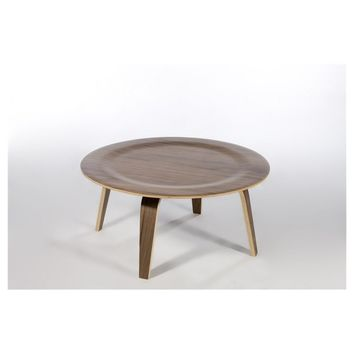 Modern Walnut Reproduction CTW Round Wood Coffee Table
