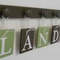Nursery Decorations Wooden Letters. Set Includes 6 Pegs and Custom Baby Name LANDON painted Light Green and Brown. Personalized Baby Gift