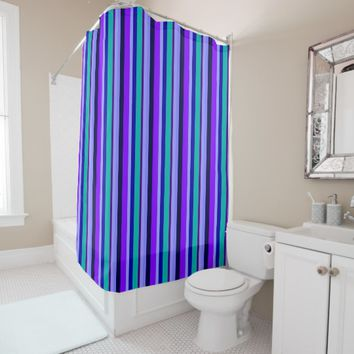 Ocean Blues & Purples Stripes Shower Curtain
