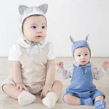 2017 Spring Baby Rompers Newborn Baby Boys Clothes Infant Girls Jumpsuit Cotton Linen Baby Girls Romper Summer Overall Wear