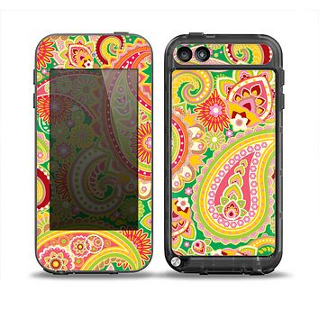 The Vibrant Green and Pink Paisley Pattern Skin for the iPod Touch 5th Generation frē LifeProof Case