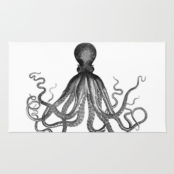 Antique Nautical Steampunk Octopus Vintage Victorian Kraken sea monster emo goth drawing Area & Throw Rug by iGallery   Society6