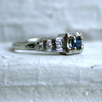 Pretty Vintage Art Deco 14K White Gold Sapphire and Diamond Engagement Ring.
