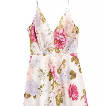 Summer Women's Fashion V-neck Sexy Backless Floral Spaghetti Strap One Piece Dress [4920237188]