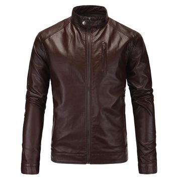 Fashion Men's Leather Jackets Mens Casual Stand Collar Coats Men Motorcycle PU Leather Jacket Casual Slim Fit Clothing