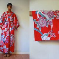 Vtg Exotic Birds & Floral Print Red Maxi Belted Kimono Robe